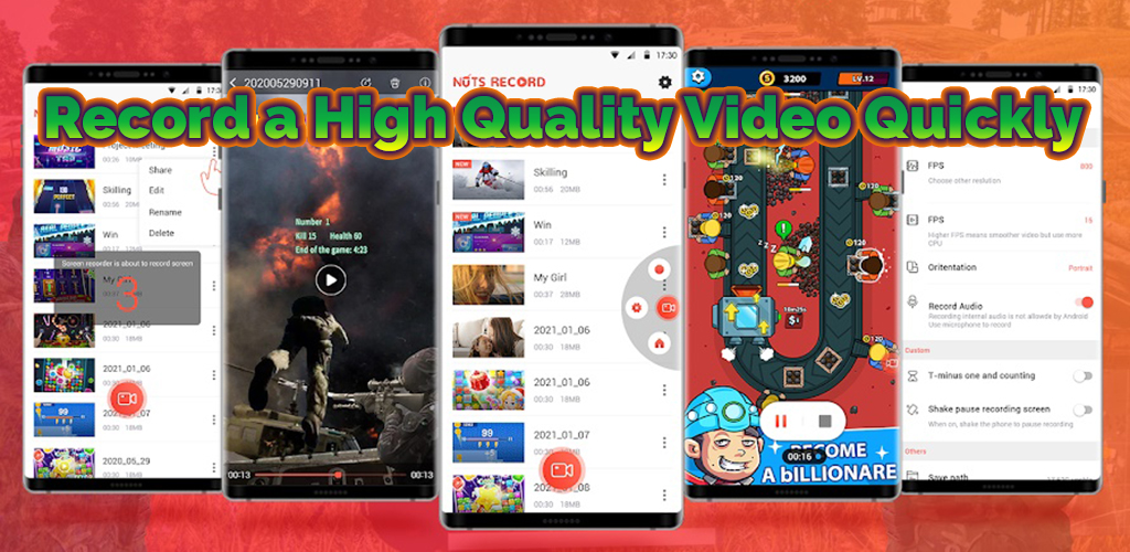 Screen Recorder, Game&Video Recorder-Nuts Recorder