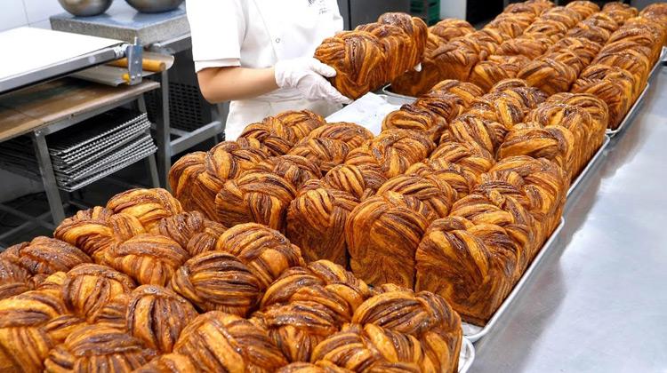 Kuliner Channel - Produksi Roti Croissant  - Street Food Korea