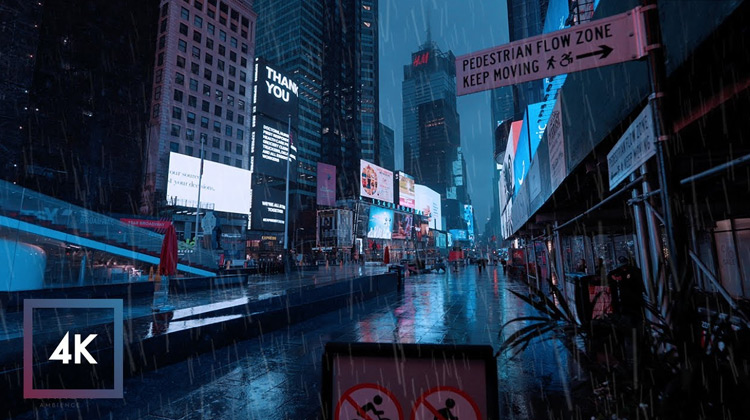 Traveling World - Rainy Morning in Times Square, New York Walk